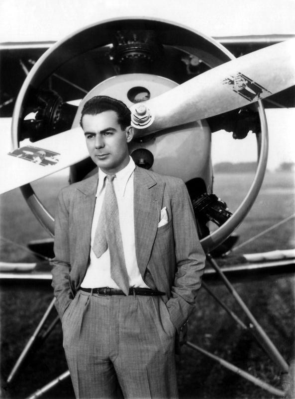 Bâzu în fața avionului Fleet, 1934
